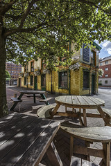 Not quite opening time... (andyrousephotography) Tags: manchester peverilofthepeak publichouse pub victorian tiled green twotone exterior landmark architecture building tables chairs openingtime pint wideangle andyrouse canon eos 5d mkiii ef1740mmf4l