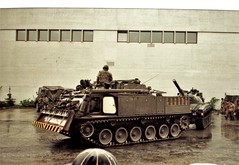 The precise manoeuvring of tanks at the Swiss Army garrison, Thun  (photo courtesy of Freda Howlett)