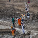 Pilgrims crossing the snow fields - Amarnath Yatra, 2. day from Sheshnag to the camp-town of Amarnath cave, Kashmir, India