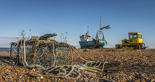 Crab pot and fishing boat, Aldeburgh Beach. (Explored 8th Aug 17 #414)