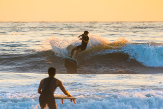 Surfers at Coal Oil Point at Twilight
