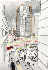 Seoul_cross road from Shinsegae deck w. post production lightings (velt.mathieu) Tags: city seoul 서울 명동 croquis sketch 스케치 drawing watercolor travelsketch