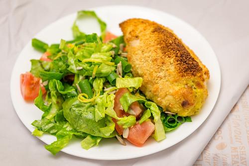 Chicken Kiev with salad