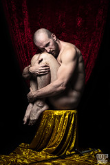 Legends of the Sword - King Midas, what now? (WF portraits) Tags: man male portrait mythology legend sword king midas gold red naked nude body muscles muscular fitness gym misenscene pose studio