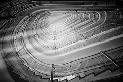 ... staircasetoheaven ... (*ines_maria) Tags: abstract sky archite reflection monochrome blackandwhite hamburg lookingup perspective urbanart urban indoor light staircase architecture