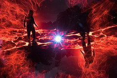 Approach To Danger. (FadeToBlackLP) Tags: lightpainting camerarotation tripodswap lensswap longexposure lpuk art creative hot fire orange flare