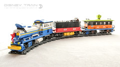 Disney Train (dvdliu) Tags: lego moc disney train donald duck mickey mouse goofy rc remote control power function steam locomotive open wagon passenger car