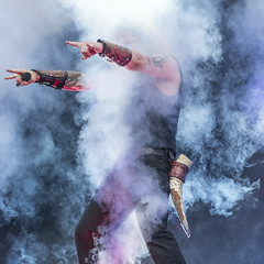 Up in smoke (acase1968) Tags: amon amarth gefle metal festival johan hegg nikon d750 nikkor 85mm f18g gavle sweden concert live music photography viking horn