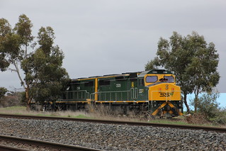 C509 C506 and C504 slowly approach the loaded wagons on the grain loop track