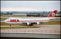 N203AE - London Heathrow (LHR) 27.07.1993 (Jakob_DK) Tags: 1993 boeing boeing747 747 b747 747200 jumbo jumbojet 747200b lhr egll heathrow londonheathrow mea middleeastairlines airliban
