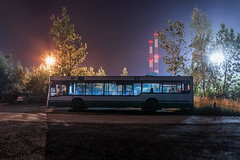 Two stars (Markus Lehr) Tags: bus laststop periphery stronglight chimney smokestacks trees nightshot nighttime longexposure nightphotography cinematic emptiness nopeople industrial manmadelandscape katowice poland markuslehr
