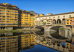 Reflections of the Ponte Vecchio (Tracey Whitefoot) Tags: 2017 tracey whitefoot florence firenze italy city tuscany ponte vecchio bridge river old medieval stone arno spandrel segmental arch reflections calm still morning historic historical history