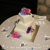 Squares and Flower Wedding Cake