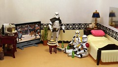 Easy Peasy on the Death Star (ChicaD58) Tags: dscf0471d starwarsactionfigure actionfigure stormtrooper clonetrooper stormtrooperbruce stb tk1110 tk432 mirror tv plant bed pillow endtable lamp tissue burgers brewskies cake cakestand coffeemaker commemorative commemorativedarthbottleofscotch