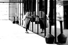 By looking on the other side (pascalcolin1) Tags: paris13 femme woman reflets reflection vitre glass miroir mirror photoderue streetview urbanarte noiretblanc blackandwhite photopascalcolin