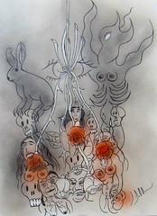 LES ROSES MORTUAIRES (Claude Bolduc) Tags: drawing outsiderart visionaryart artsingulier artbrut horsnorme intutiveart