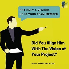 Align your vendors with the vision of your project to help them rise and work with you as business partners and continuously add value in their own unique way. The efforts will reward  the entire ecosystem eventually.   Visit www.grovine.com  #vendor #ven (GroVine - Marketing and Business Management Consul) Tags: startups ecosystem entrepreneur entrepreneurs vendors business makeinindia startup growth suppliers startupindia businessstrategy vision businessmanagement strategy supplier growthstrategy vendormanagement vendor