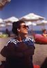 Beach! (steamfreak88) Tags: canon t90 nfd fd fdn 50mm f14 14 135 film analog kodak e100vs ektachrome slide color positive reversal expired pacific image primefilm xa vuescan beach bulgaria burgas bourgas sun glasses sand portrait seaside sea black 2005