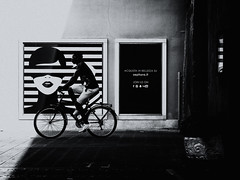 cyclist (Sandy...J) Tags: olympus monochrom urban noir blackwhite bw street streetphotography man bicycle biker photography black white italy city