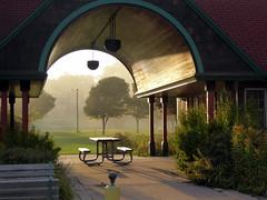 Park pavilion in foggy golden light (yooperann) Tags: sunset fog elwood mattson park lower harbor marquette upper peninsula michigan lake superior