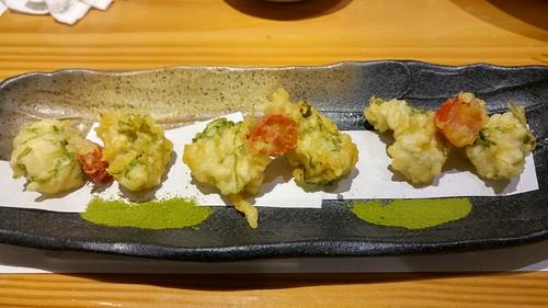 Zucchini and tomato tempura with matcha salt
