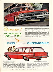 1961 Oldsmobile Super 88 Hardtop & F-85 Station Wagon (aldenjewell) Tags: 1961 oldsmobile super 88 holiday coupe hardtop f85 deluxe station wagon canadian ad rockette v8