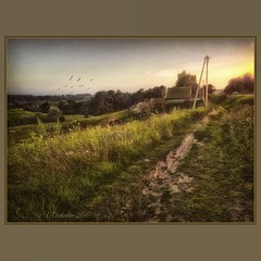 Evening in the village. (odinvadim) Tags: mytravelgram paintfx textured textures iphone editmaster travel iphoneography sunset evening iphoneonly church painterly artist snapseed landscape photofx specialist iphoneart graphic painterlymobileart
