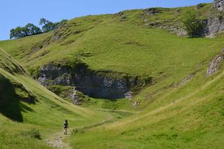 Cave Dale Hiker, Peak District National Park, Derbyshire, England.