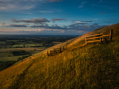 Its all downhill from here... (lloydich) Tags: sussex south downs national park clouds sunset field fence