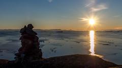 The Midnight Sun. (802701) Tags: outdoors nature sunset sea sun diskobay ilulissat themidnightsun midnight midnightsun iceberg icebergs ice greenland