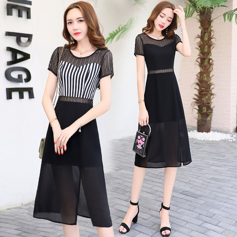 2017 New Ladies chiffon skirt Korean slim gauze dress in long sleeved temperament vent female summer