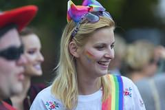 Rainbow lady (Frank Fullard) Tags: frankfullard fullard rainbow pride gay march smile portrait colourful colorful happy mayo castlebar irish ireland celebration blonde