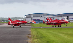 XX332 Royal Air Force Red Arrow Hawk-T.1A @ Exeter Airport, Devon. (Sw Aviation) Tags: xx332 royal air force red arrow hawkt1a exeter airport devon arrows raf avgeek avgeeks airplanes planes aerobatic display team flying flight sky dull overcast