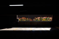 When Graffiti is Held Captive (c. Melon Images) Tags: street streetphotography color 35mm portland fuji life shadow summer 23mm painting