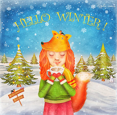 (marozn) Tags: girl cute background illustration love young animal child little cartoon kid hand snow winter adorable hold woman friendship sweet happy concept fun emotions humor newyear christmas art card hill outdoors tree snowy fir landscape christmastree childhood fox ñoffee tea portrait drinking drink emotion cup mug vacation redhead vintage text banner hello