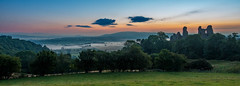Waiting for the sunrise, Montgomery Castle, Powys (christaff1010) Tags: castle landscape mist midwales hills clouds sun morning tree sunrise wales montgomery powys sky sunlight britain green uk panorama unitedkingdom gb