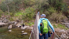 Jo and Cam on the suspension bridge on the Mt Beauty Gorge walk