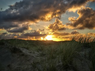 Sun rising over the sand dunes of Hayle