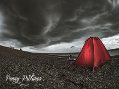 Red tent under stormy sky (penny.pictures) Tags: olympus omd omd1mkii olympusuk omdem1mkii coast em1ii em1mkii getolympus sea digital beach red tent storm weather clouds fisheye fish eye drama fishing