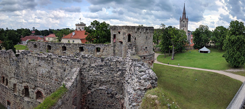 Castle, Cēsis, with St. John's Church, one of the oldest medieval architectural monuments in Latvia