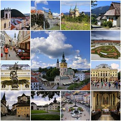 Beautiful cultural sightseeing in Slovakia (B℮n) Tags: fdsflickrtoys hradbanskábystrica kostolsvätéhokríža banskábystrica slovakia slowakije citybarbican viewpoint middle ages picturesque slovak city square hron river historical church castle mansions fotifications mountains summer holiday tourist walls main gate tower barbican bastions clouds blue sky snp námestie europe slavic valley travel heritage colors kostolsvfrantiškaxaverskéhoc mosaic collage collection best