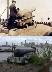 One O'Clock Gun, Morpeth Dock, Birkenhead, 1900s and 2017 (Keithjones84) Tags: birkenhead wallasey merseyside wirral thenandnow rephotography newbrighton