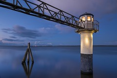 Little Lighthouse Oostmahorn @hour (Sander Grefte) Tags: fujifilm 14mm oostmahorn landscape blue lighthouse longexposure le vuurtoren blauw landschap friesland sky clouds water wolken lucht light lights lichten nederland netherlands