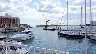 Looking across to Gosport from Gunwharf Quay next to Portsmouth Historic Dockyard, Victory Gate, HM Naval Base, Portsmouth PO1 3LJ,  England.