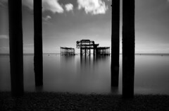 Original Brighton pier (www.davidrosenphotography.com) Tags: brighton seascape blackwhite sea travel landscape clouds pier reflections
