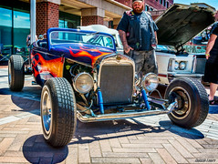 1931 Ford roadster hot rod (kenmojr) Tags: 2017 antique atlanticnationals auto car classic moncton newbrunswick show vehicle vintage centennialpark downtown kenmo kenmorris carshow modela ford 1931 roadster hotrod flames flame flamed