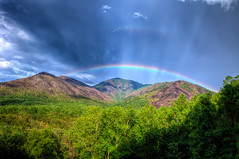 Rainbow in the Smoky Mountains (·tlc∙) Tags: rainbow smokymountainsnationalpark tennesse northcarolina mountains landscape rockefeller clingmansdome forest green rain outdoors southeast usa beautiful