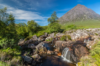 Buachaille Etive Mor and river Coupall falls