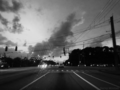 Driving Home (Harley Mitchell) Tags: drive driving street intersection blackandwhite dark gloomy