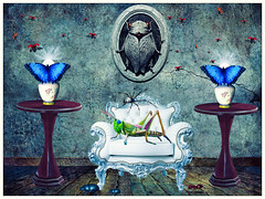 my home is my castle (Swissrock-II) Tags: challenge animals insects photoshop photomanipulation photoshopart room texture butterfly grasshopper sofa deviantart